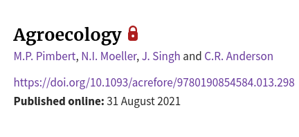 Oxford Research Encyclopedia of Anthropology: Agroecology